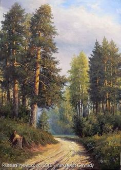 """""""Summer. The Path In The Forest"""" - oil, canvas http://www.russianfineart.co/catalog/prod.php?productid=21170 Artist: Yanulevich Gennady:"""