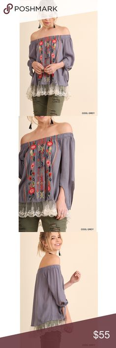 Embroidered off the shoulder top with lace hem Gray off the shoulder top with gorgeous floral embroidery and lace. Umgee Tops