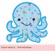 Octopus Sea Animal Machine Embroidery Applique for girls Baby Embroidery, Machine Embroidery Applique, Hand Embroidery Designs, Applique Patterns, Applique Designs, Applique Ideas, Alice In Wonderland Cross Stitch, Fish Graphic, Baby Octopus