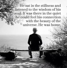 he sat in the stillness and listened to the wisdom of the soul. it was there in the quiet he could feel his connection with the beauty of the universe. Be Still Quotes, Behind Blue Eyes, A Course In Miracles, After Life, Spiritual Awakening, Spiritual Wisdom, Spiritual Warrior, Awakening Quotes, Spiritual Guidance