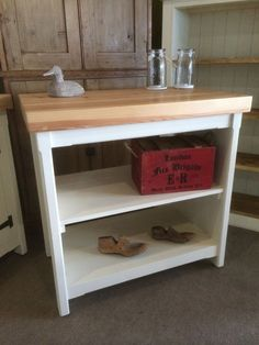 rustic wooden pine fully open centre kitchen island workstation