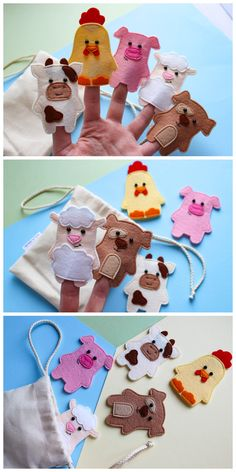 Farm animals finger puppets, baby gift, Felt finger puppets, Felt play set, First birthday gift, Montessori toddler, Children puppets Finger puppets set with farm animals is perfect for playing with your child.It can also be given to a child on his first birthday.The set is universal, and suitable for both boys and girls.It is hand-sewn from felt.All parts are securely sewn on. In the set you get 5 puppets : 1. Pig 2. Dog 3. Sheep 4. Cow 5. Chicken