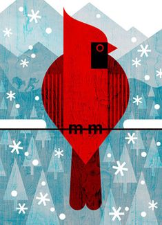 scott partridge - Set of cards commissioned by Great Outdoor Provision Co. 2015. - Winter Cardinal