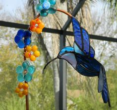 Hummingbird Stained Glass Suncatcher and Fused by uniquenique, $50.00