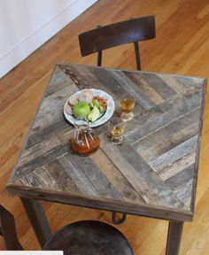 Chevron Cafe Pallet Tables great for restaurants and bars!                                                                                                                                                     More