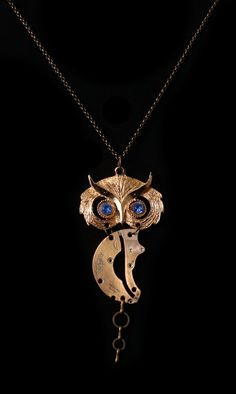 Blue Eyes Steampunk Gold Owl- Upcycled Vintage - Watch Parts - Signature Statement Piece from Owl and Crow Seattle - Unique Accessories N107 by owlandcrowseattle on Etsy