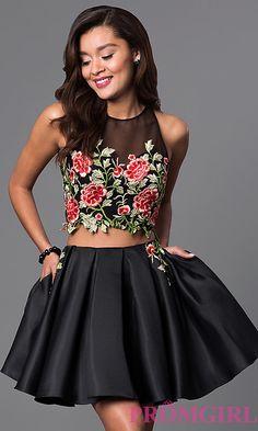 Two-Piece Short Lace-Bodice Black Dress