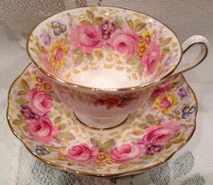 Vintage ROYAL ALBERT Fine Bone China Tea Cup & Saucer - English China - SERENA