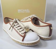 Women's MICHAEL Michael Kors KRISTY LACE UP Sneakers Canvas Ecru Brown Size 7 #MichaelKors #Comfort