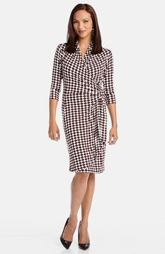 This with a fitted black blazer would be a knock out. Karen Kane Print Cascade Wrap Dress available at #Nordstrom