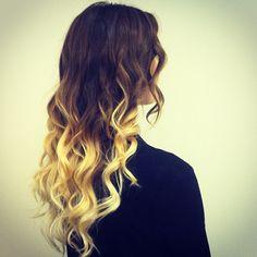 brown hair with blonde dip dye