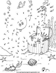 SEA LIFE dot to dot printable connect the dots game. Do you like this SEA LIFE dot to dot printable connect the dots game? Printable Coloring, Coloring Pages For Kids, Coloring Books, Hard Dot To Dot, Connect The Dots Game, Dot To Dot Puzzles, Dot To Dot Printables, Dots Free, Dot Day