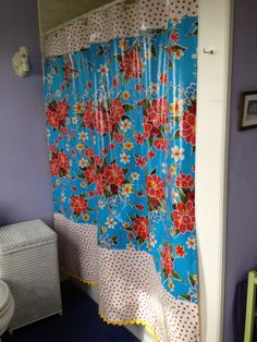 Tropical carribean blue floral oilcloth shower by NowandThenCt, $60.00 Oilcloth, Master Bathroom, Bathroom Ideas, Bathrooms, Tropical, Decorations, Curtains, Shower, Handmade Gifts