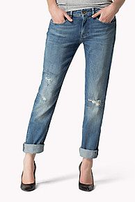 The Louise offers a more feminine take on the traditional boyfriend jean, and is a brand new addition to Hilfiger Denim. Stonewhashed vintage blue with tears repaired with contrasting yarn. Whiskers and faded thighs for a worn-in look. Hilfiger Denim, Tommy Hilfiger, Boyfriend Fit Jeans, Winter Sale, Signature Style, Stretch Denim, Denim Jeans, Feminine, Brand New