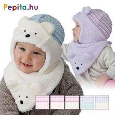 A sapka fontos eleme a hűvösebb napoknak, mivel így védve van a gyerekek feje és füle a hidegtől és a széltől. Anyagának köszönhetően tapintása puha és jól szigetel.    Jellemzői:  - Pamut  - Sállal  - Minősége I.osztály Crochet Hats, Pillows, Knitting Hats, Cushions, Pillow Forms, Cushion, Scatter Cushions