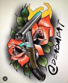 53 ideas tattoo old school calavera Skull Tattoo Flowers, Skull Rose Tattoos, Flower Tattoo Designs, Tattoo Design Drawings, Tattoo Sketches, Traditional Tattoo Arm, Berg Tattoo, Americana Tattoo, Old School Rose