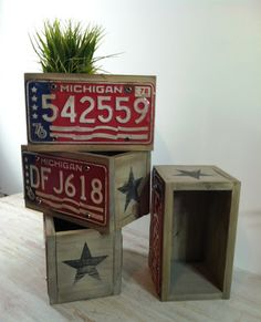 Planter Boxes with vintage Michigan license plates.