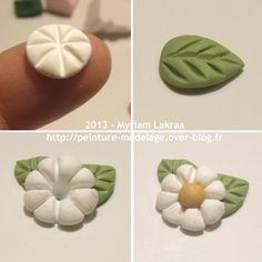 Myriam Lakraa Creations - Little Flower, Step by Step - Polymer Clay Fimo . - Myriam Lakraa Creations – Little Flower, Step by Step – Polymer Clay Fimo (Polymer Clay) – 20 - Polymer Clay Kunst, Fimo Clay, Polymer Clay Projects, Polymer Clay Charms, Clay Beads, Polymer Clay Jewelry, Clay Crafts, Food Crafts, Clay Earrings