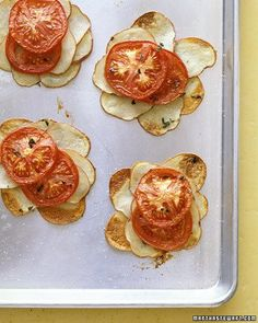 Potato and Tomato Galettes   Layers of thyme-flecked potato and tomato slices are baked to crisp perfection. If you have a mandoline, use it to make the thinnest, most even potato slices.