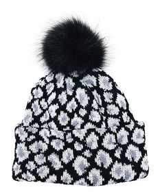 088ee9584e0 Take a look at this White Leopard Knit Pom-Pom Beanie today! White Leopard