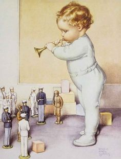 """""""Toddler With Horn And Toy Soldiers"""", illustration by American artist - Bessie Pease Gutmann Vintage Pictures, Vintage Images, Vintage Cards, Vintage Postcards, Old Illustrations, Bessie Pease Gutmann, Baby Illustration, American Artists, Vintage Children"""