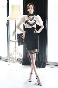 Embroidery Lace Blouse Retail Volume  Nobang color combination teuim Skirt black skirt dint 딘트
