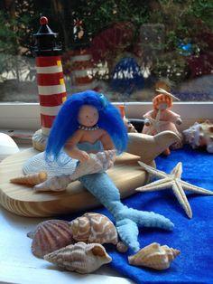 Mermaid felt summer nature table, zeemeermin vilt zomer seizoenstafel jaartafel