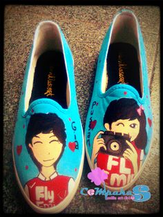 hand-painted shoes Couple #SLOP #BLuesky #Love #Vanillasosrt