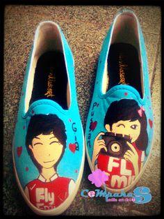 hand-painted shoes Couple #SLOP #BLuesky #Love #Vanillasosrt