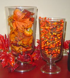 thanksgiving vases | And the wire pumpkin was another great find at $4.00!