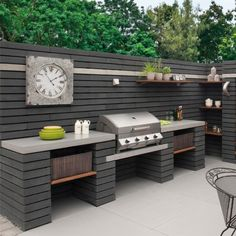 Outdoor Kitchen Ideas - Pavestone Paving-Manmade 'Moodul'-Black WALL COPING/PATH EDGING