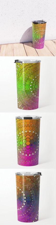 Colorful Floral Mandala Travel Mug by David Zydd #MandalaTravelMug #BestTravelMugs #Society6 #MandalaHomeDecor #ProductDesign #Artwork #Healing #Yoga #MandalaDecoration #Boho (tags: floral, camping, artwork, mandala, lifestyle, art, geometry, mandala home decor, mandala decor, equipment, xmas, colour, yoga, christmas, mandala pattern, colorful, society6, abstract, meditation) Mandala Art, Mandala Pattern, Mandala Design, Travel Mugs, Floral, Shot Glass, Coffee Mugs, David, Tags
