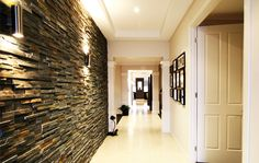 hallway lighting ideas modern 25 Ideal Hallway Walls – Make Your Hallways As Gorgeous As The Rest Of Your Property other Stone Feature Wall, Feature Wall Living Room, Feature Walls, Hallway Light Fixtures, Hallway Lighting, Ceiling Lighting, Sconce Lighting, Stone Cladding, Wall Cladding