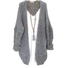 gilet grosse maille gris perle