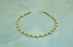 Simple glass necklace in shades of autumn. by BijoubeadsLondon £12.50