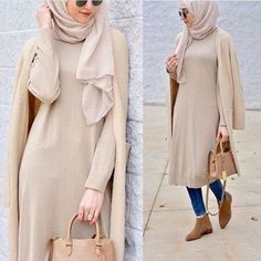 Neutral long cardigan with tunic-How to wear colorful hijab in winter – Just Trendy Girls