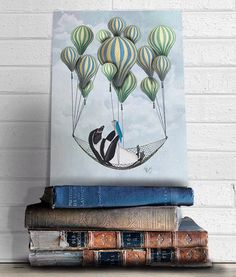 Modern Nursery Art for Kids Room Décor - Penguin in Hammock - Cute animal art for kids rooms boys nursery art girls nursery art playroom art by LoopyLolly on Etsy https://www.etsy.com/listing/228522156/modern-nursery-art-for-kids-room-decor