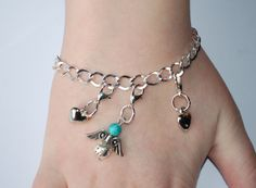 Chain bracelet with charms, Angel Hearts bracelet, Mother's Day Gifts
