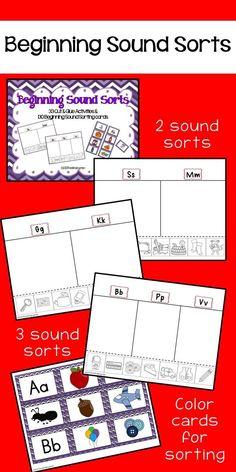 beginning sound sorting activities and pocket chart cards Kindergarten Math Games, Rhyming Activities, Kindergarten Language Arts, Preschool Letters, Kindergarten Literacy, Literacy Centers, Abc Centers, Early Literacy, Language Activities