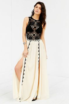 Amuse Society Sia Crochet-Top Maxi Dress - Urban Outfitters