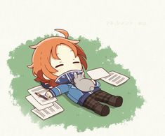 Anime Chibi, Anime Art, Sleeping Boy, Kawaii, Anime Poses, Ensemble Stars, Cute Anime Guys, Pretty Art, Cute Games