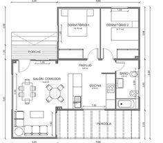 Planos Casas de Madera Prefabricadas: Plano Casa de Madera 79 m2