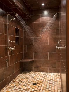 Double Shower Design Ideas, Pictures, Remodel and Decor Dream Shower, Walk In Shower, Shower Floor, Rain Shower Bathroom, Slate Shower, Tile Floor, Tile Showers, Glass Floor, Glass Tiles