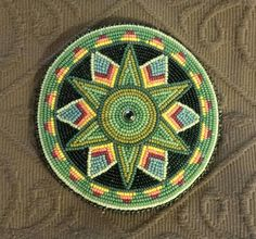 Barrette by Scott Sutton shades of green. Indian Beadwork, Native Beadwork, Native American Beadwork, Native American Jewelry, Native American Patterns, Native American Crafts, Tribal Fusion, Bead Loom Patterns, Beading Patterns