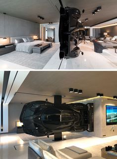 This modern oceanfront condo in Miami has a Pagani Zonda R racing car installed as part of the decor, that serves as a high-impact partition between the living room and master suite. Interior Design Living Room, Modern Interior, Pagani Zonda R, Koenigsegg, Garage Design, Garage House, Design Moderne, Home Staging, Building Design