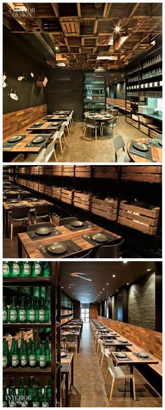 Canalla Bistro, Valencia Contemporary Modern Restaurant ++ i like the idea of having little doors or crates on the wall for condiments++ Pub Design, Retail Design, Pizzeria Design, Back Bar Design, Bistro Design, Cafe Bar, Cafe Bistro, Bistro Decor, Bar Interior