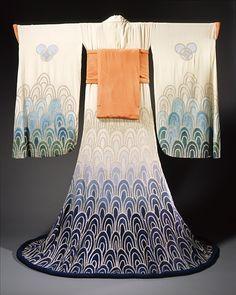 Erté (Romain de Tirtoff), Woman's Kimono Theatre Costume Ensemble (kimono, inner kimono & obi belt) for the Ballets Russe, 1923.  --  LACMA Collections