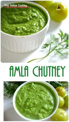 How to make Amla Ki Hari Chutney, Amla coriander chutney, Indian Gooseberry & Coriander Chutney. Amla aka Indian Gooseberry is . Indian Chutney Recipes, Indian Food Recipes, Vegetarian Recipes, Cooking Recipes, Vegetarian Bowl, Amla Recipes, Recipies, Rice Recipes, Gooseberry Recipes