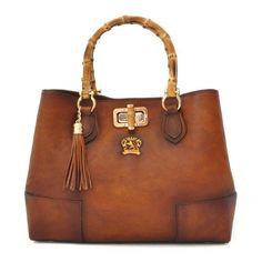 Attavanti - Pratesi Designer Bambu Aged Leather Tote Handbag- Brown f27fb2c6b4bfc