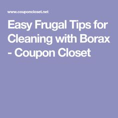 Easy Frugal Tips for Cleaning with Borax - Coupon Closet